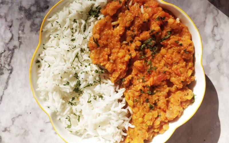 Dahl de lentilles corail curry recette